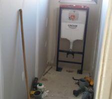 debut d installation du wc suspendu