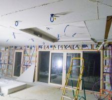 Pose du plafond en fermacell (agrafé, collé sur ossature bois)