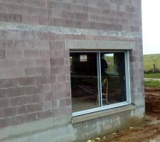 Baie vitrée dimensions 3 m. fournies par JB menuiserie (gray)