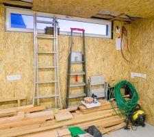 Placage du garage en OSB 12mm en cours