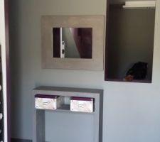 console et miroir en beton cires du sur mesure realise par une grande renommee dans le rhone