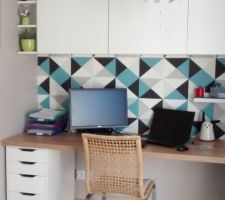 Aménagement d'un coin bureau - Plan de travail LM, Mix de meubles Ikea