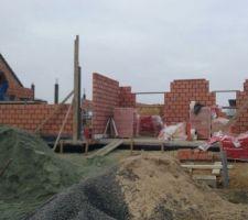 elevations des murs exterieur en blocs porotherm de 14mm