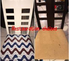 COmme on ne pourra pas acheter tout de suite du neuf autant restaurer les enciens meuble ( chaises pour le moment, table à venir)