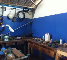 creation du coin atelier dans le hangar