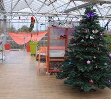 La terrasse en bois a été protégée par un revêtement vinyle ce qui rend plus propre et utilisable cette terrasse pour Noël 2016