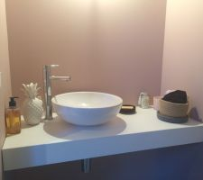 Lave-main rez-de-chaussée Plan en marbre reconstitué