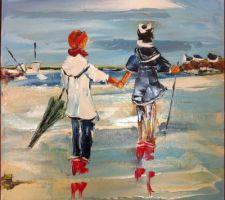 Gros plan : Sortie en mer de Pierre Trémauville ( peinture au couteau )