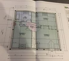 Plan de l'étage de notre future maison, on aménagera le dessus du garage plus tard