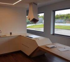 vous pouvez constater le meuble coulissant sous la plaque de cuisson totalement sur mesure pour epouser le plateau chene