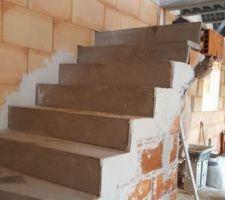 Ce lundi matin montage de l'escalier !