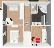 Vue 3D espace nuit, salle de bain et toilettes
