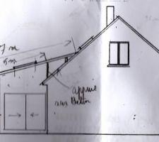 Plan de la terrasse couverte vue du pignon sud-ouest (clui à l'opposé du garage)