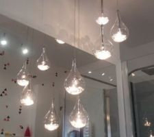 Suspension gouttes d eau avec des pierres dedans  achat fait sur internet luminaire ,fr