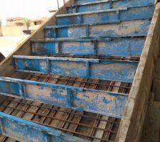 Coffrage et ferraillage de l'escalier