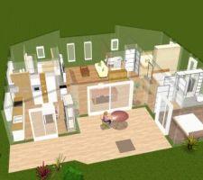 Vue 3D murs en transparence