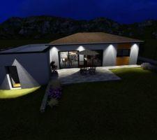 Simulation d'éclairage extérieur de notre maison (production personnelle)