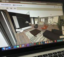 Simulation 3d pièce de vie salon
