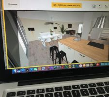 Simulation 3d pièce de vie vu de la cuisine