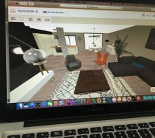 Simulation 3d pièce de vie vu du salon