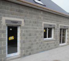 De droite à gauche : baie-vitrée et fenêtre du salon et porte fenêtre vitrée de la cuisine.