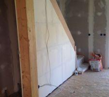 Montage cloison de cage d'escalier sous-sol