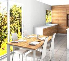 Table du salon en rappel de la cuisine