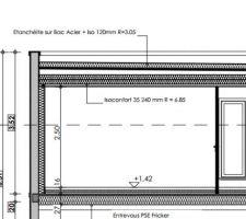 Plan de coupe de l'isolation plafond sous bac acier