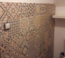 Toilette rdc en cours carreaux de ciment posé reste la peinture