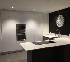 Changement des façades des colonnes de la cuisine en blanc laqué au lieu du blanc mat