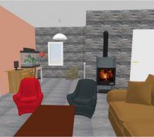 Simulation Sweet Home 3D du bureau avec parement pierre et mur rosé...