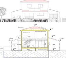 Coupe permis de construire Maison passive