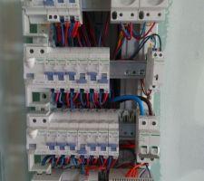 Tableau électrique en cours de mise en service. Raccordement du cable 2x25mm² par mes soins.