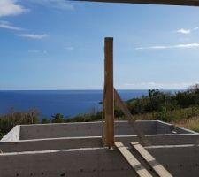 Début de la charpente: Piliers de la terrasse couverte