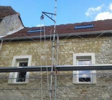 Début de la façade avec le mortier Parjoint T080