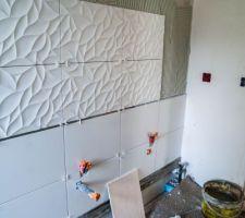 Faience salle de bain avec baguette inox
