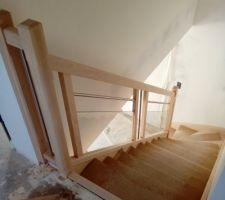 Escalier posé avec vitres