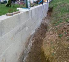 decaissement du mur lateral pour etancheifier