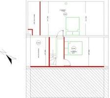 Plan du permis de construire pour les 2 chambres sous comble. La grande sera surement divisé en 2. La lumière sera assuré par 3 VELUX.