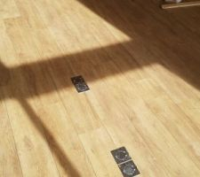 Prise alu brossé au sol (rj45 + electricité) pour les bureaux