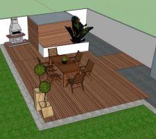 petit plan maison pour la terrasse moitie ipe et carrelage style pierre bleue