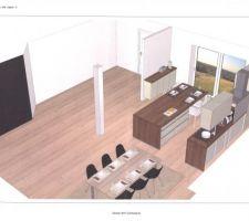 plans de la future cuisine, avec îlot central et plan snack.