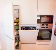 Les trois colonnes avec frigo encastré, lave vaisselle en hauteur et four & micro onde encastré