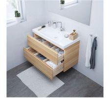 Godmorgon chêne blanchi 100 Edeboviken lavabo blanc