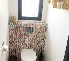 WC suspendu entièrement revêtu de capsules de bières !  Notre petite fierté ?