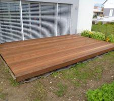 Pose de la 2ème terrasse en bois exotique