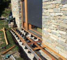 Préparation pour pose de la deuxième partie de la terrasse