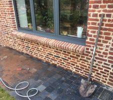 Rénovation bas de mur brique