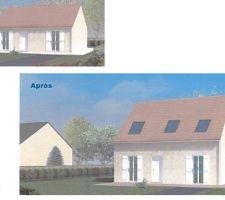 rehausse et changement de pente maison phenix amenagement de comble total avec surcroit des facades