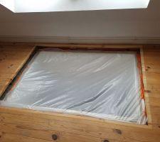 Ponçage des parquets et refonte du puit de lumière de notre chambre donnant dans le salon